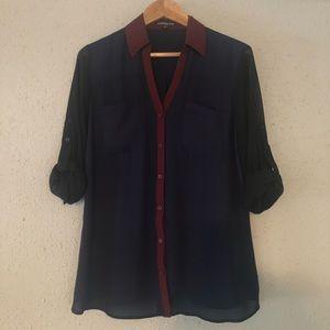 Express Sheer Sleeve Portofino Shirt